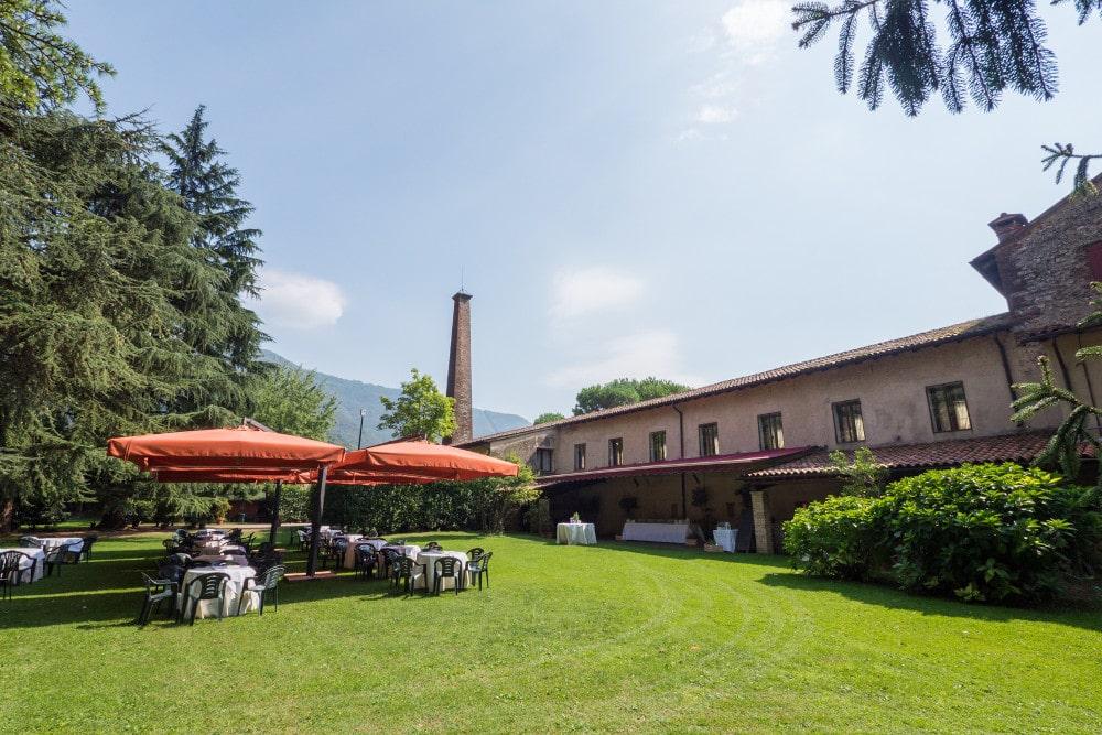Vista di Villa Damiani dal parco sul retro. Location in Veneto